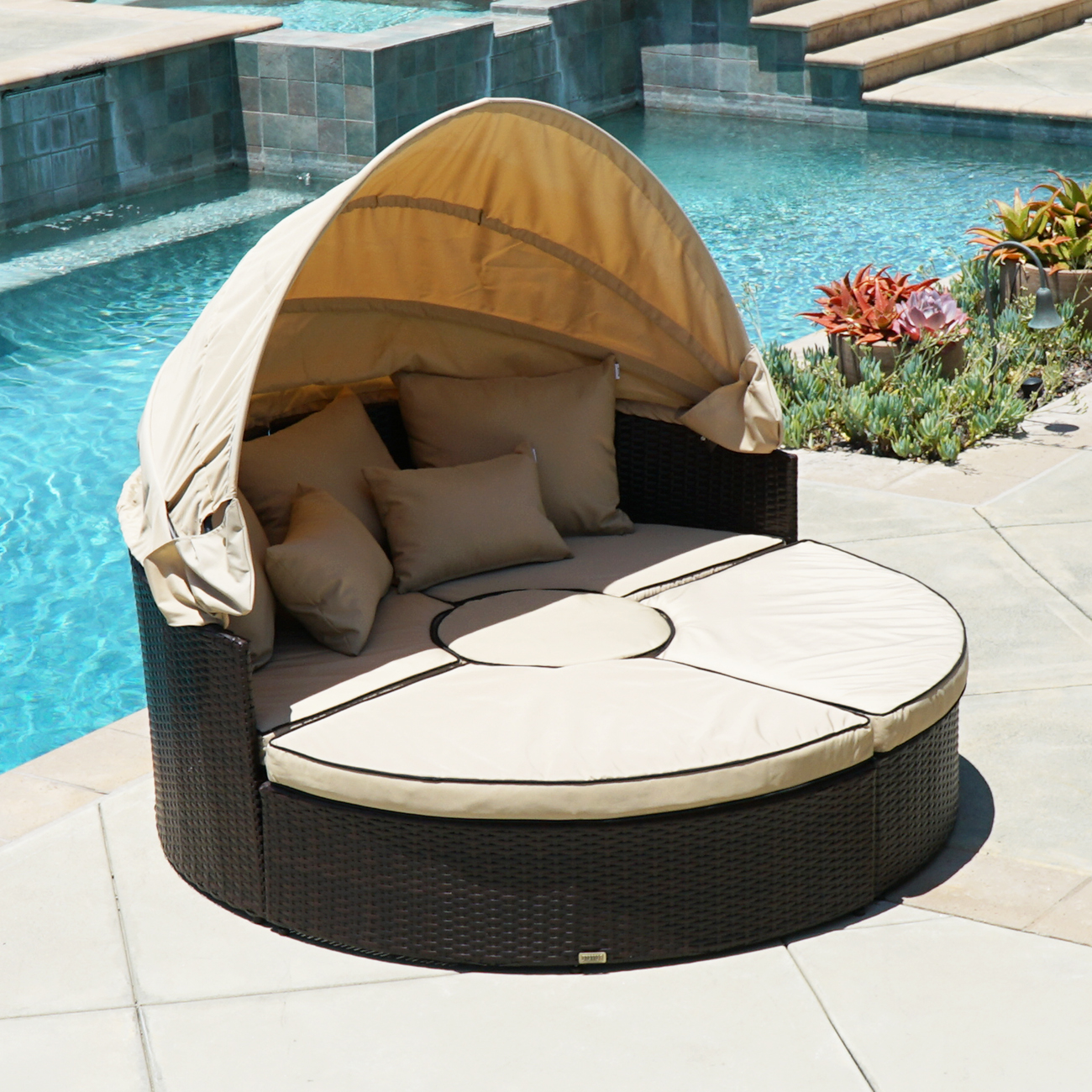 Outdoor Patio Sofa Furniture Round Retractable Canopy Daybed Brown  # Muebles Pestana