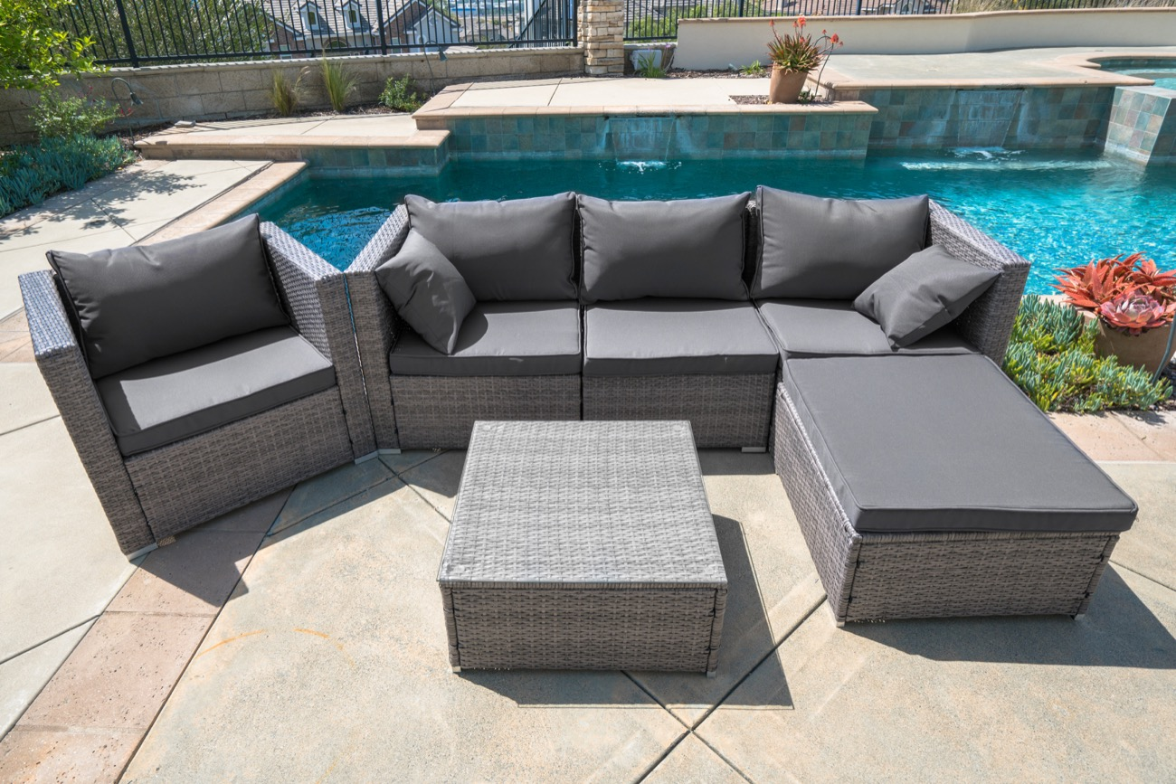 6pc Outdoor Patio Furniture Rattan Wicker Sectional Sofa Chair Couch