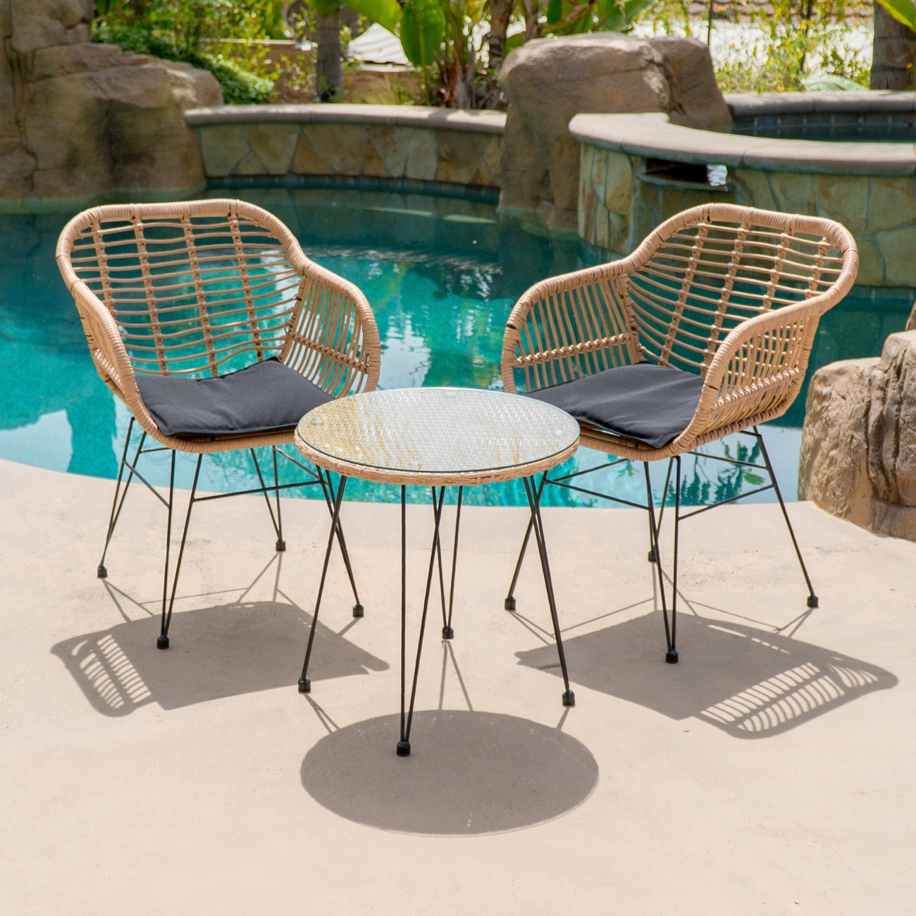 Cool Details About 3 Piece Bistro Chairs Patio Set Glass Coffee Table Uv Resistant W Cushion Beige Interior Design Ideas Pimpapslepicentreinfo