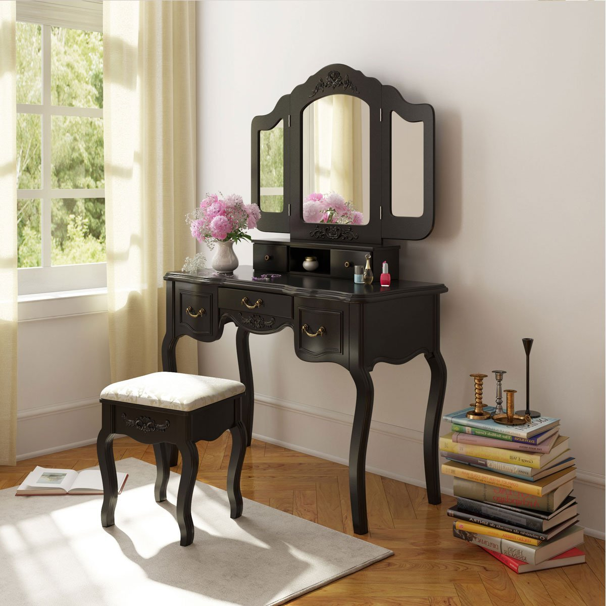 5 Drawer Amp Mirror Makeup Vanity Dressing Table Set W