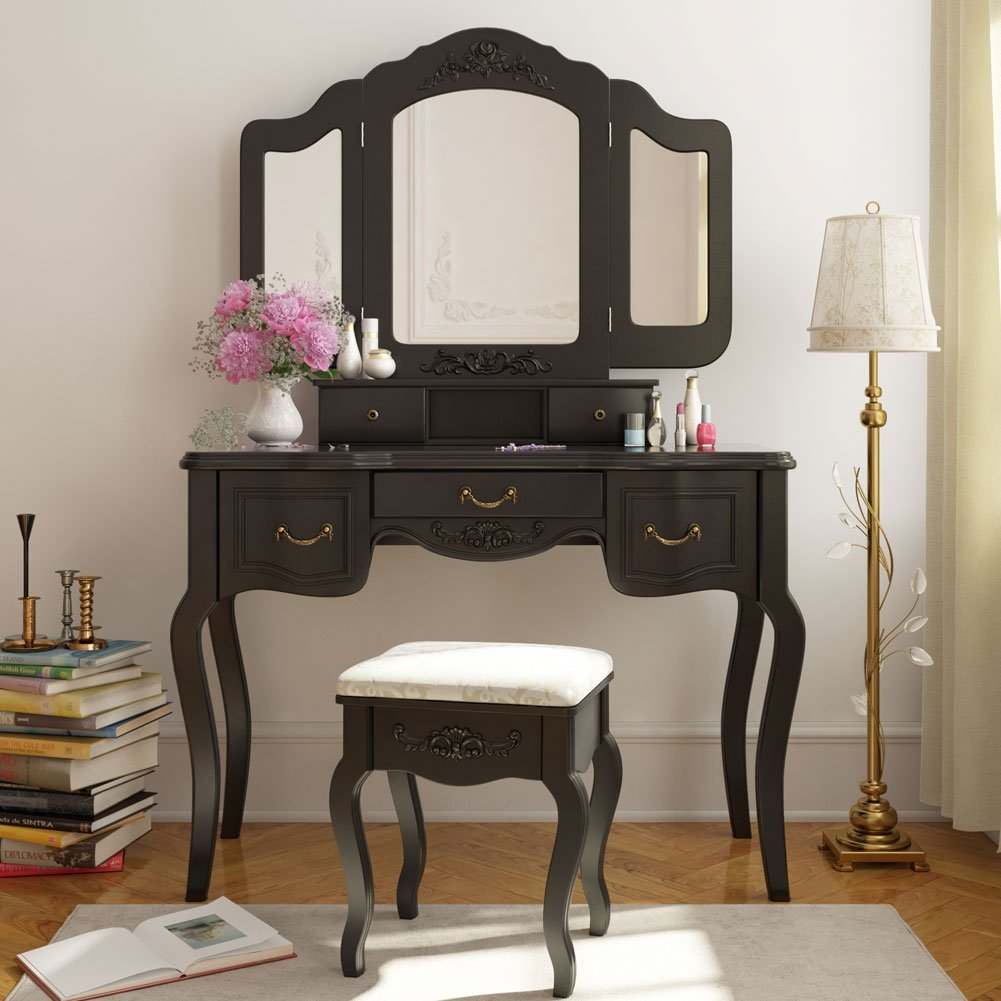 5 drawer mirror makeup vanity dressing table set w for Vanity table with drawers no mirror