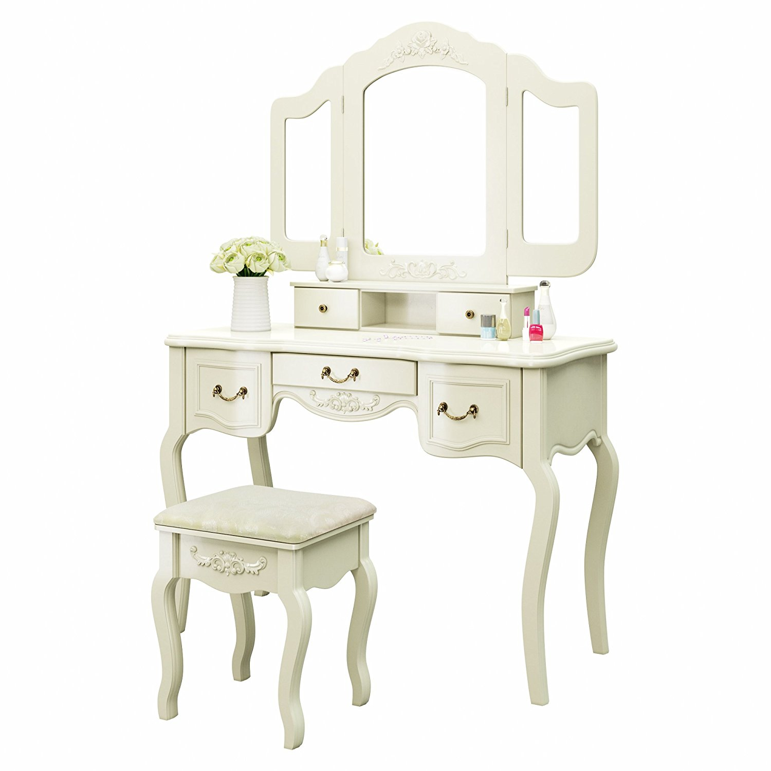 vanity makeup table set with stool tri folding mirror 5 drawers jewelry white ebay. Black Bedroom Furniture Sets. Home Design Ideas