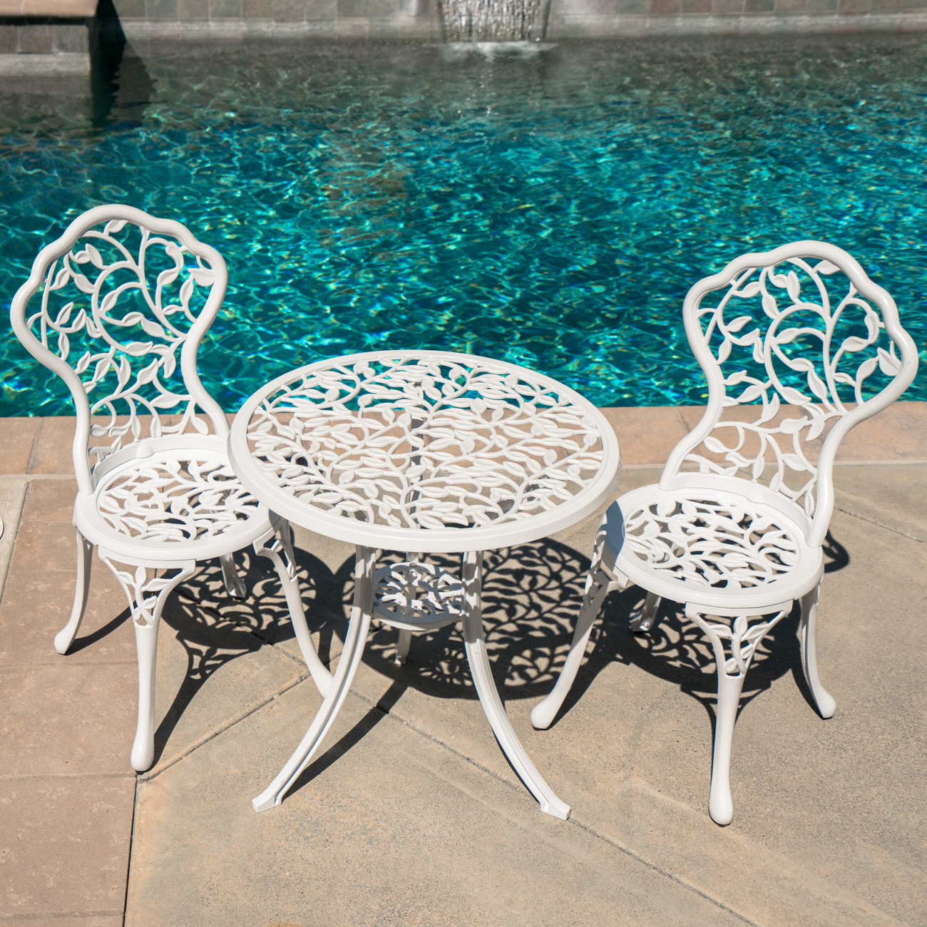 Patio table chairs set ivory iron furniture balcony pool for Poolside table and chairs