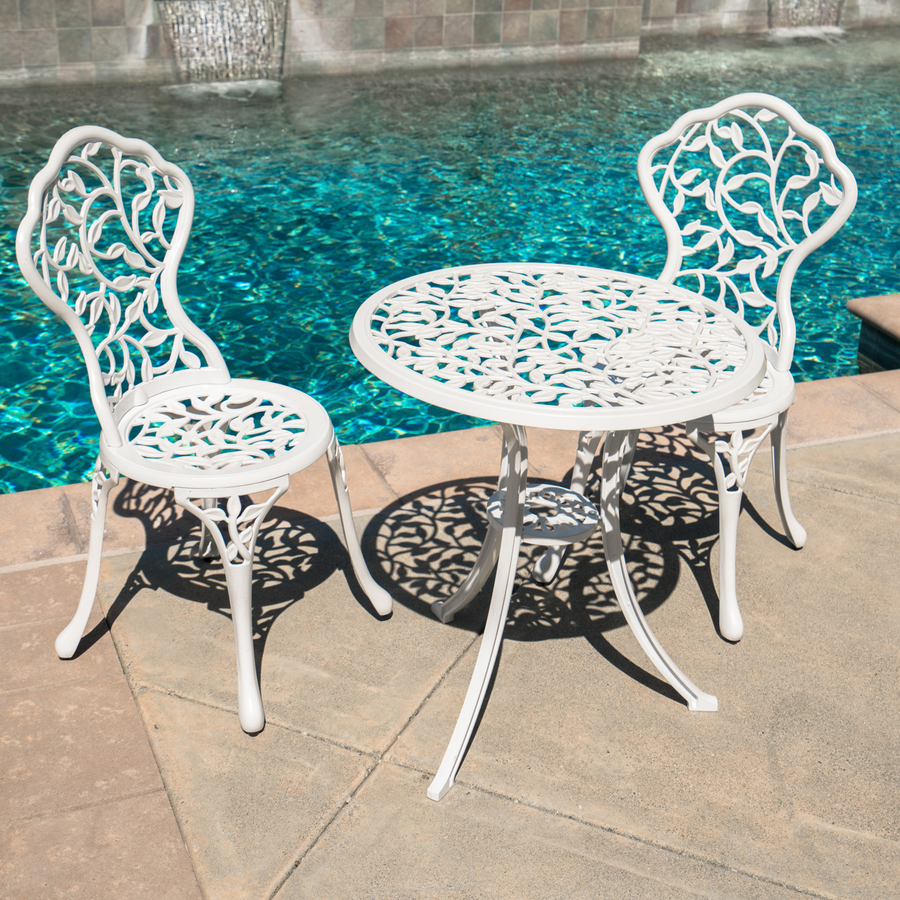 Vintage Garden Table And Chairs Set: 3PC Bistro Set Patio Table Chairs Ivory Furniture Balcony