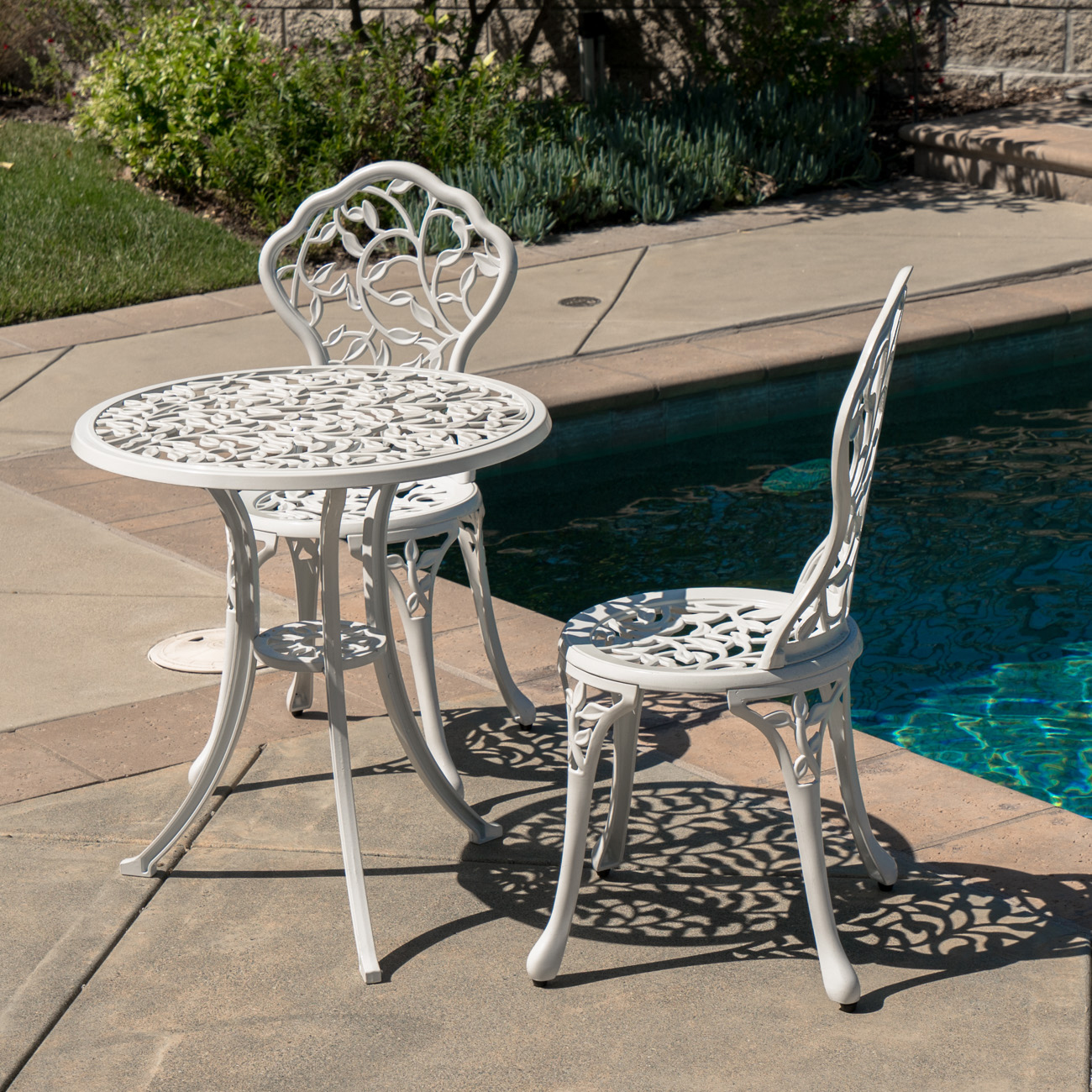 3pc bistro set patio table chairs ivory furniture