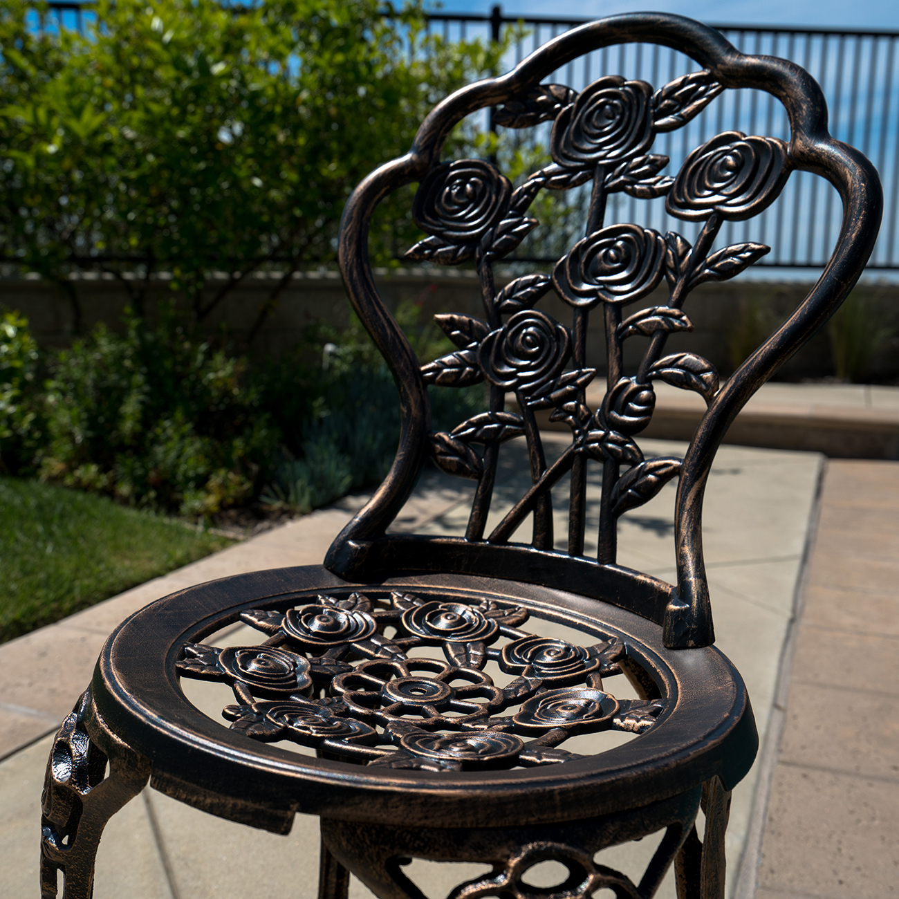 Cast Aluminum Patio Furniture Heart Pattern: 3 PC Bronze Cast Bistro Outdoor Patio Set Rose Iron Design