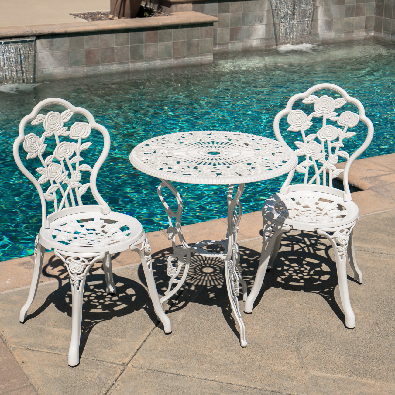 Cast Aluminum Patio Furniture Heart Pattern: Outdoor Patio Furniture Cast Aluminum Tulip Design Bistro