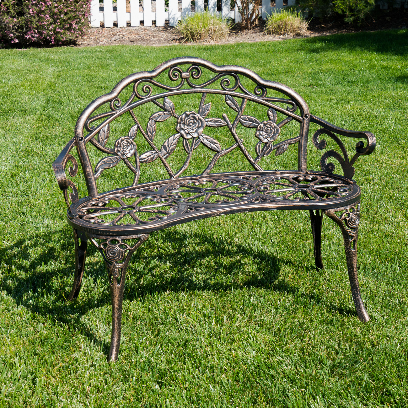 Superb Details About Antique Designed Rose Style Outdoor Patio Park Garden Bench Bronze Love Seat Pabps2019 Chair Design Images Pabps2019Com