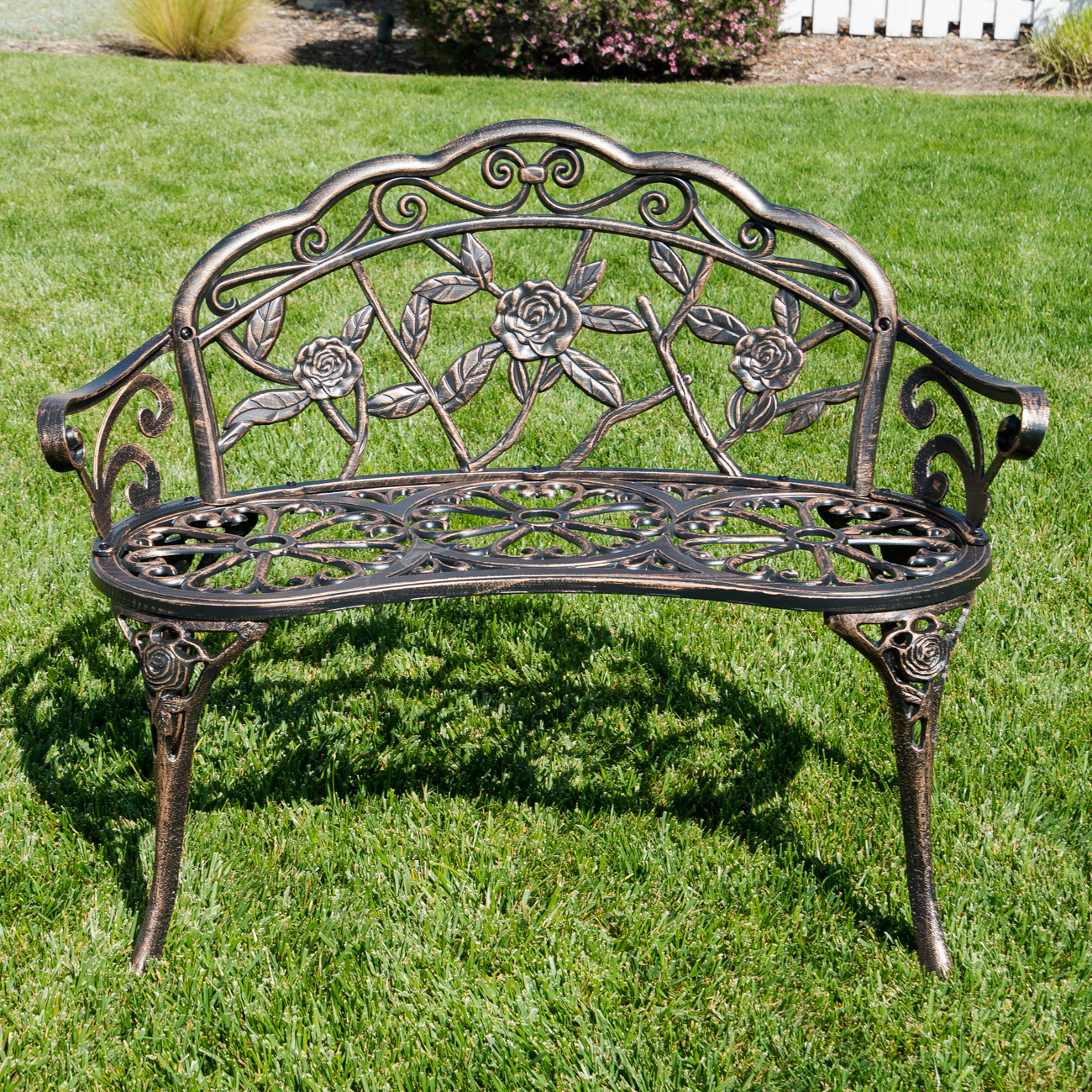 Hokku Designs Revionna Two Seat Bench With Storage: Antique Designed Rose Style Outdoor Patio Park Garden