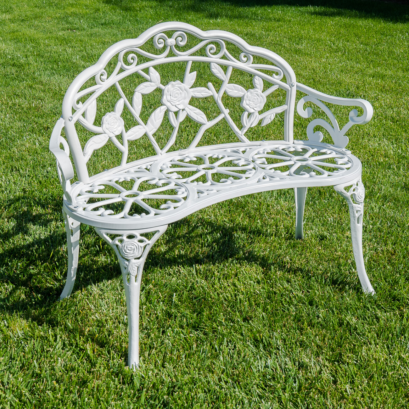 39 white antique style patio porch garden bench aluminum outdoor chair rose new ebay Aluminum benches