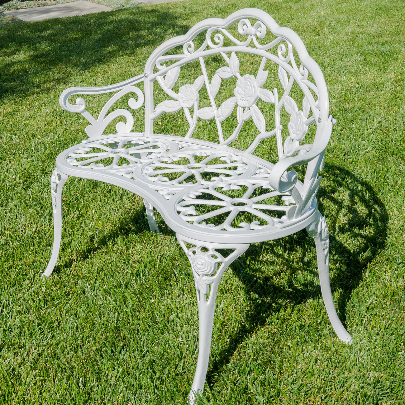 New 39 Quot Inch Antique Style Patio Porch Garden Bench Aluminum Outdoor Chair Rose