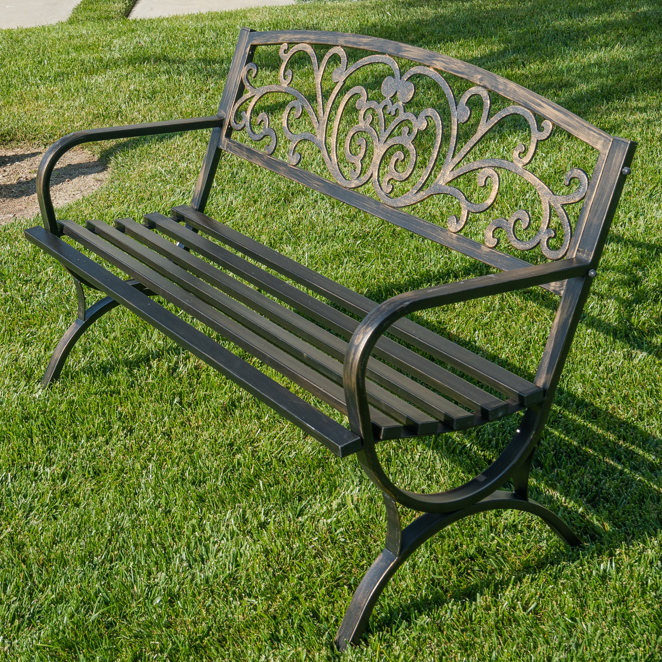 Miraculous Details About 50 Inch Outdoor Bench Patio Backyard Metal Garden Furniture Seat Bronze Black Bralicious Painted Fabric Chair Ideas Braliciousco