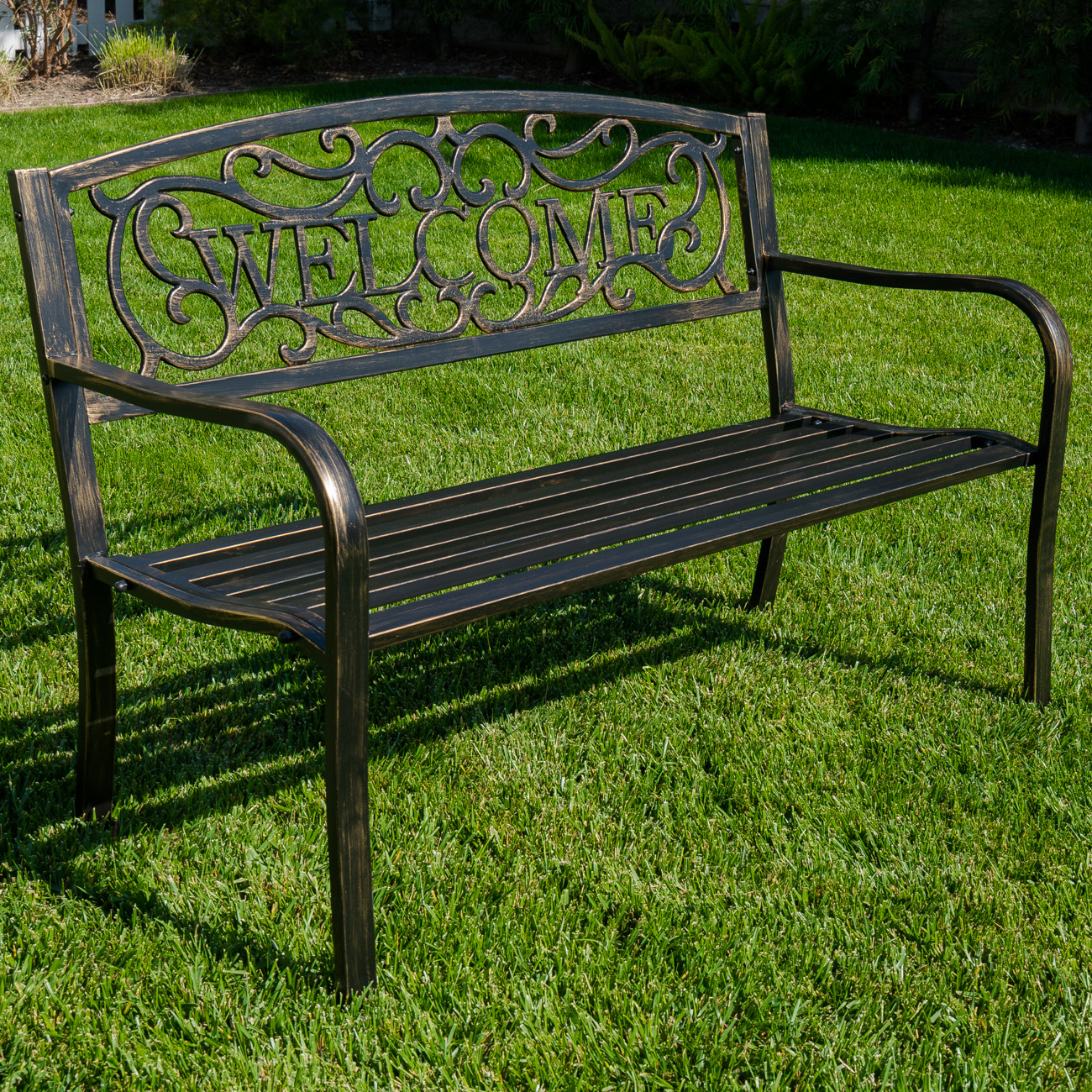 Fantastic Details About New Outdoor Garden Bench Patio Furniture Deck Backyard Welcome Love Seat Bronze Bralicious Painted Fabric Chair Ideas Braliciousco