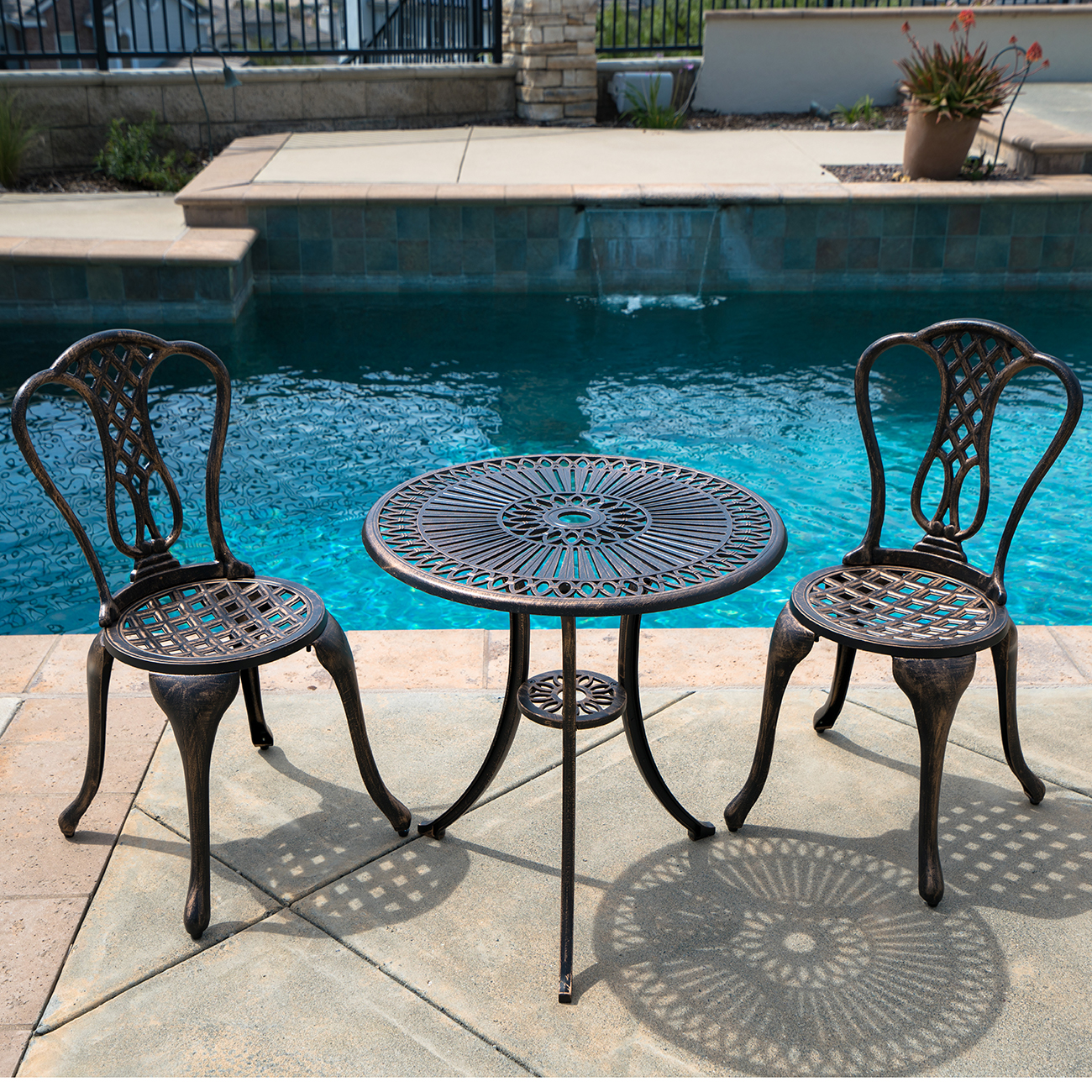 Vintage Garden Table And Chairs Set: 3PCS Outdoor Bistro Patio Cast Aluminum Table And Chair