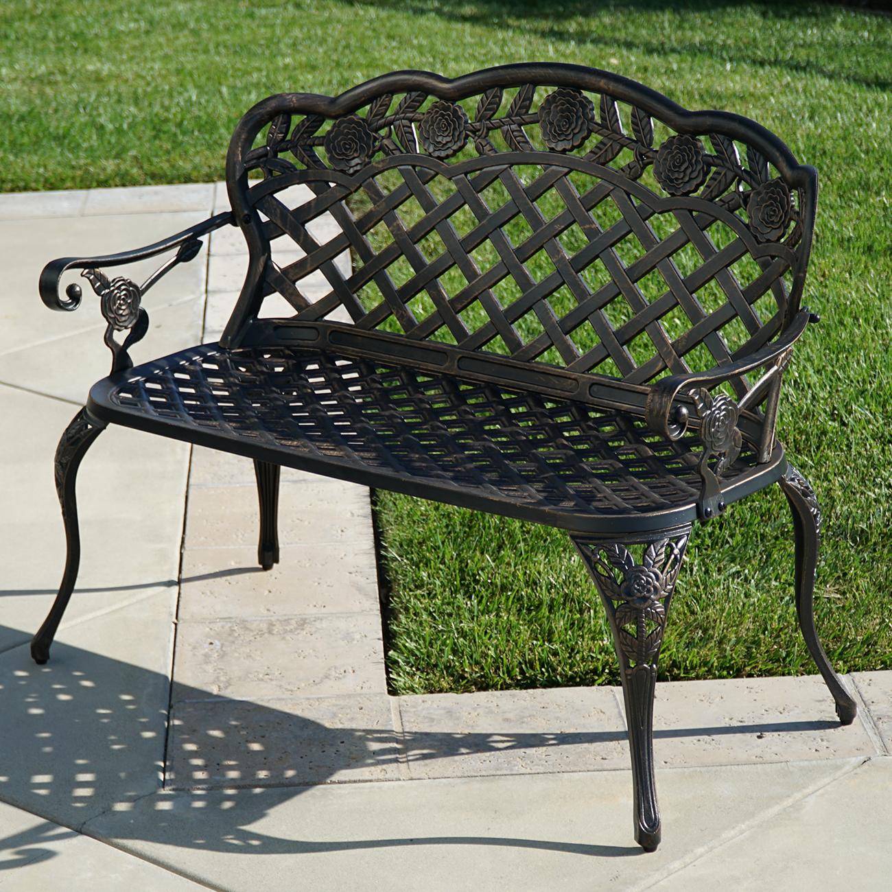 Outdoor Patio Furniture Floral Design Antique Copper Cast Aluminum Garden  Bench