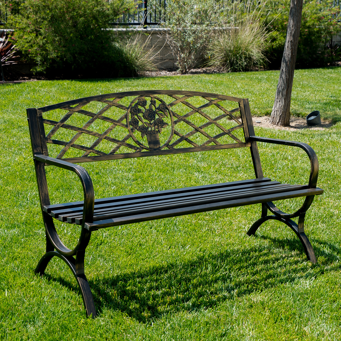 Outdoor bench patio chair metal garden furniture deck for Metal benches for outdoors