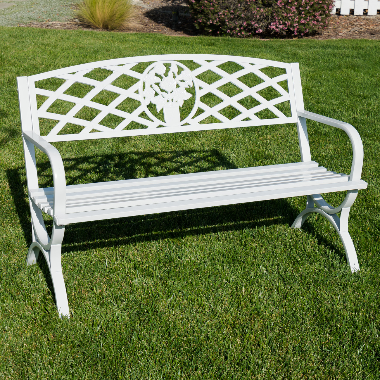 50 Inch Outdoor Park Bench Garden Backyard Chair Porch Seat Steel Frame White Ebay