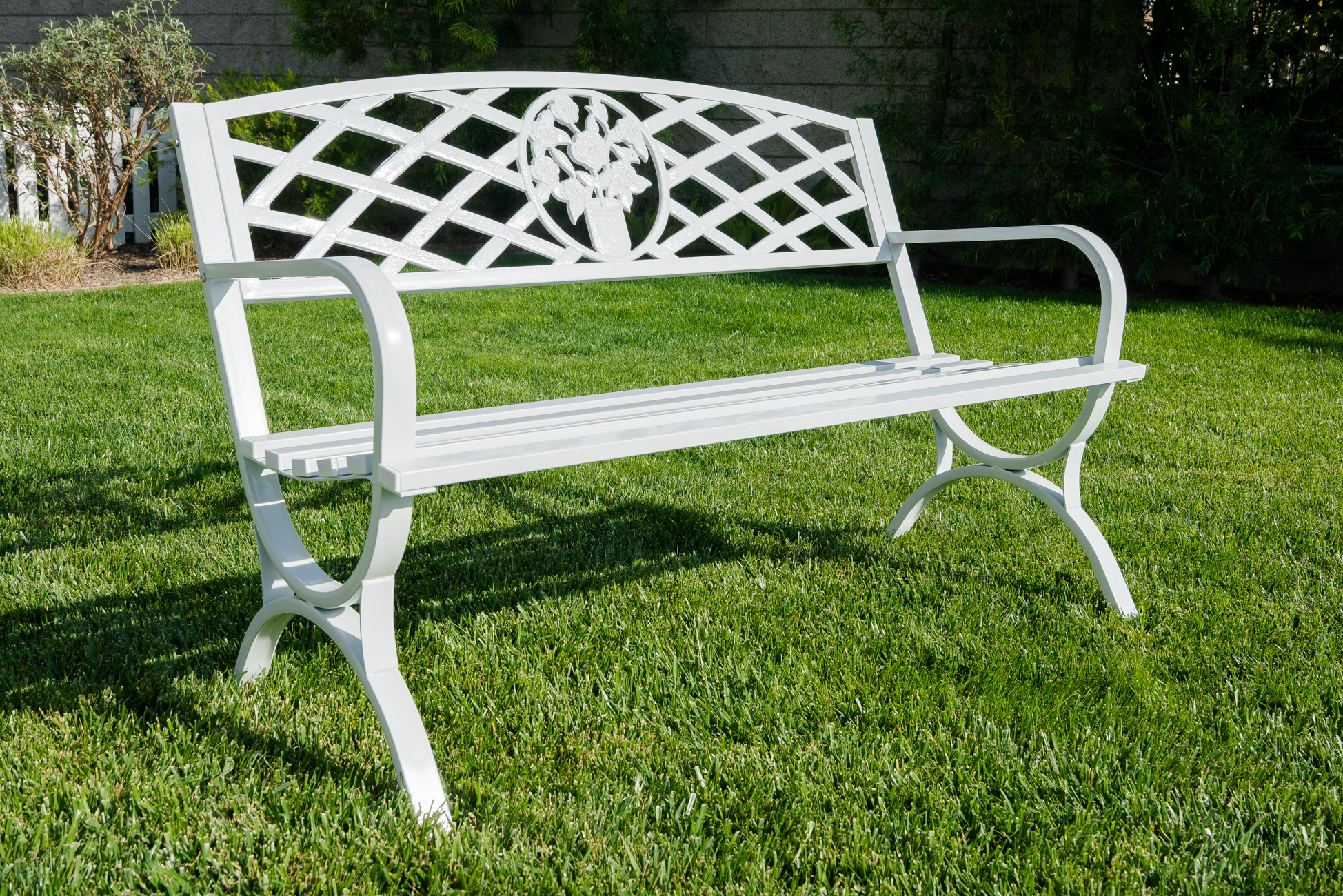 bench garden furniture outdoor seat steel co patio aosom lawn chair outsunny white uk god black park person