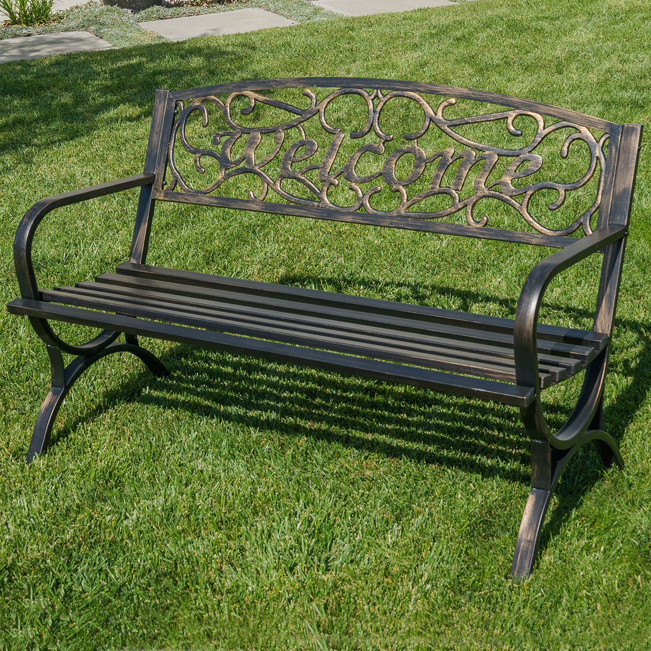 Pleasant Details About 50 Welcome Decorative Patio Garden Outdoor Park Bench Seat Backyard Bronze Bralicious Painted Fabric Chair Ideas Braliciousco