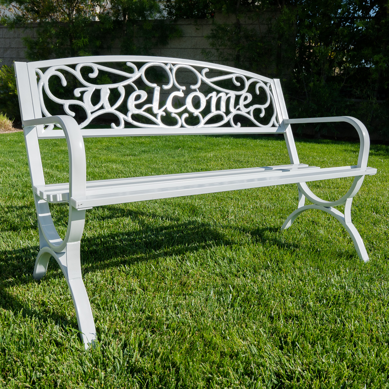 Outdoor Park Bench 50 Quot Inch Welcome Elegance Seat Backyard
