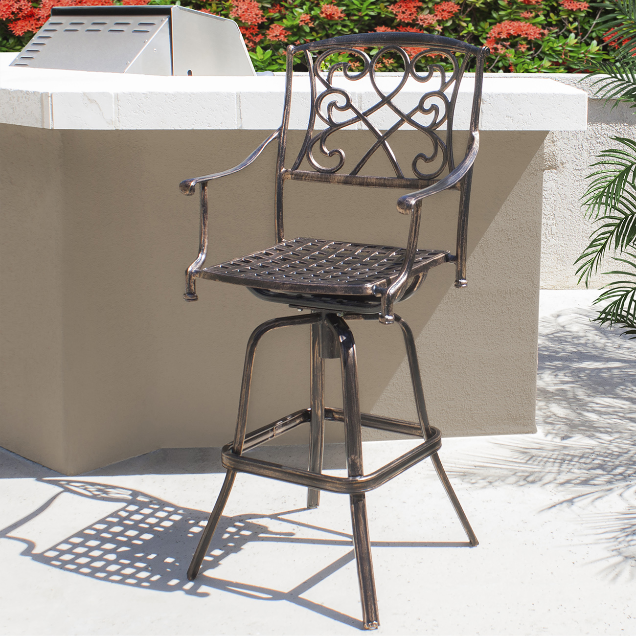 outdoor patio furniture cast aluminum swivel bar stool footrest