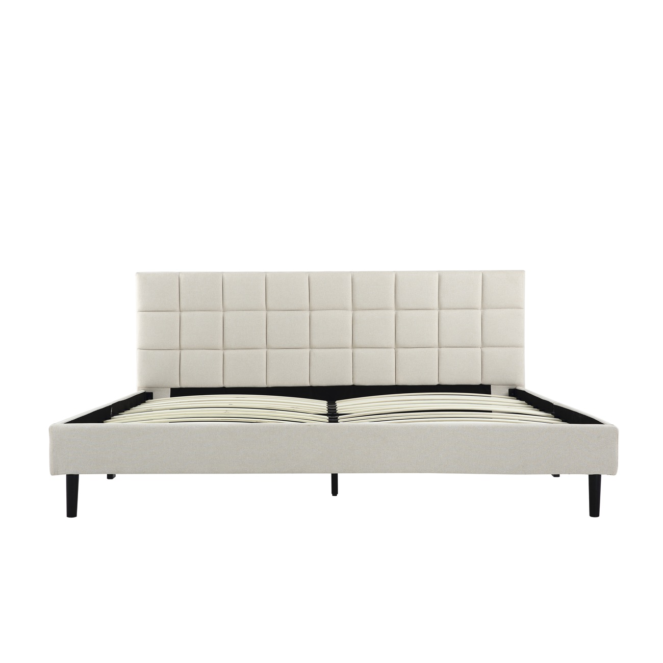 King Size Bed Frame Scallop Tufted Upholstered Headboard w/ Support ...