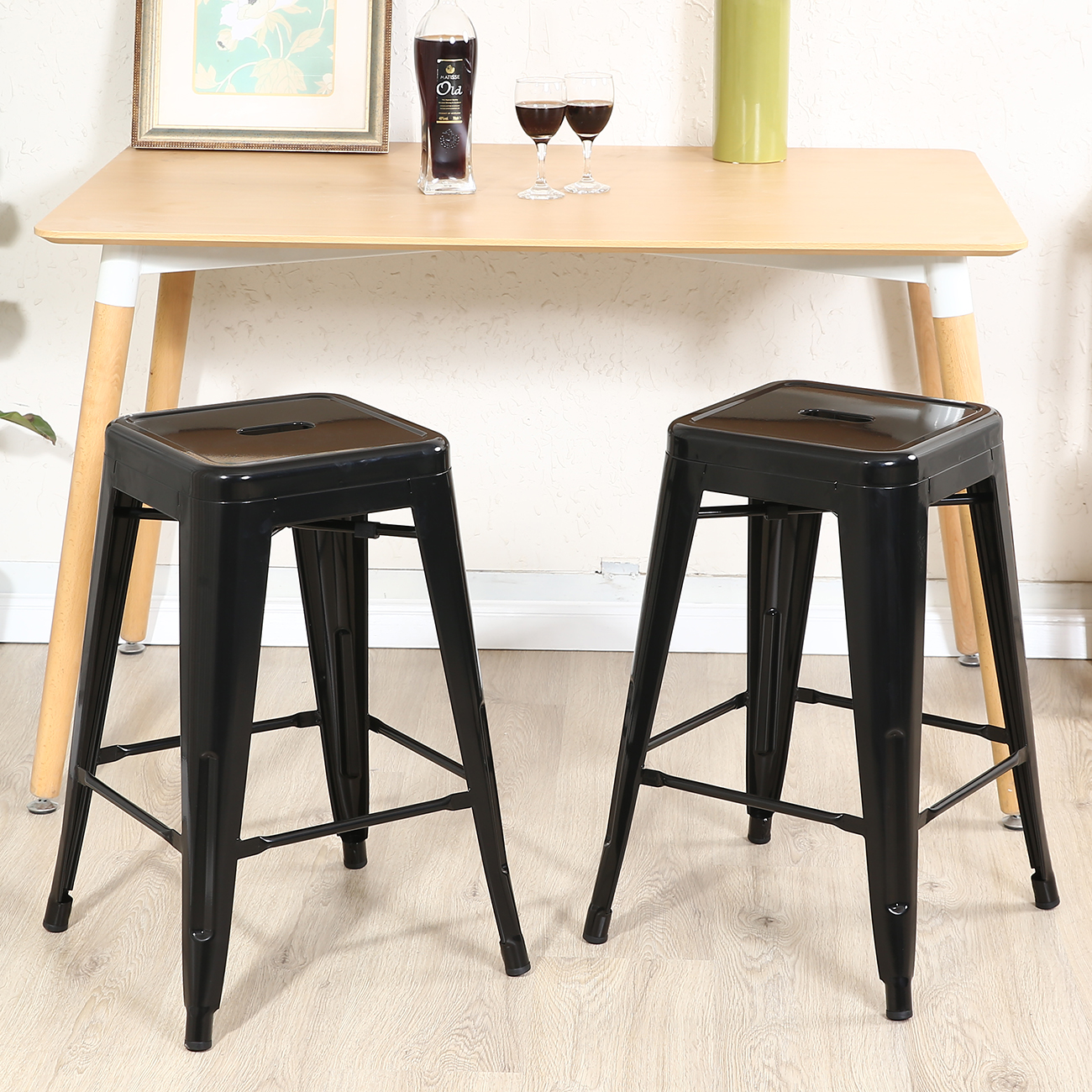 Set Of 2 Metal Bar Stool Counter Height Home 24 26 30 Inch Silver Black Ebay