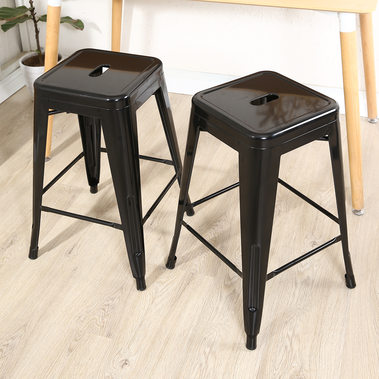 Set Of 2 Vintage Style Counter Stools Metal Modern Bar