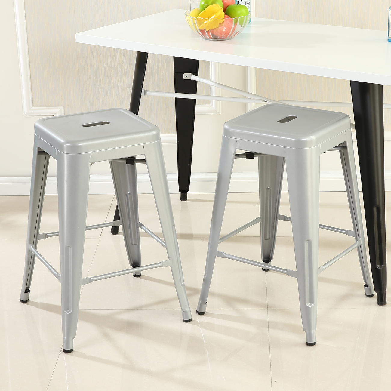 2 Pcs Modern Style Bar Stool Metal Stackable Stools Height