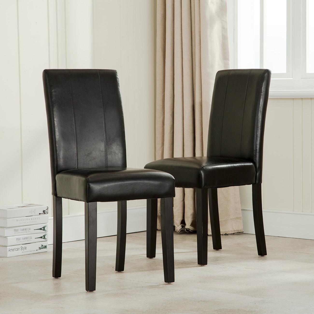 Set Of 2 Dining Chairs: Elegant Modern Parsons Chair Leather Dining Living Room