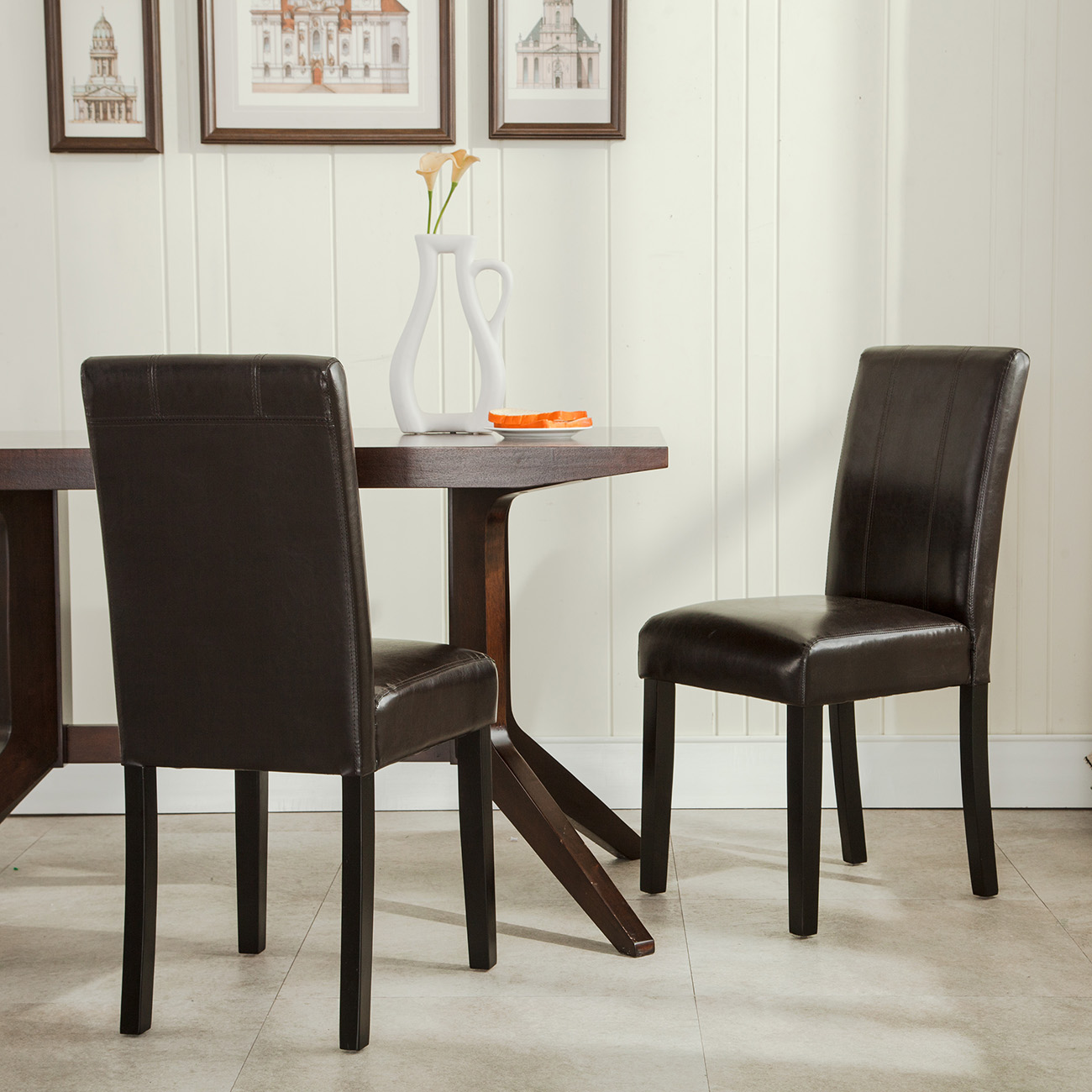 Set Of 2 Elegant Design Furniture Leather Parsons Dining Room Chairs Seat Bro