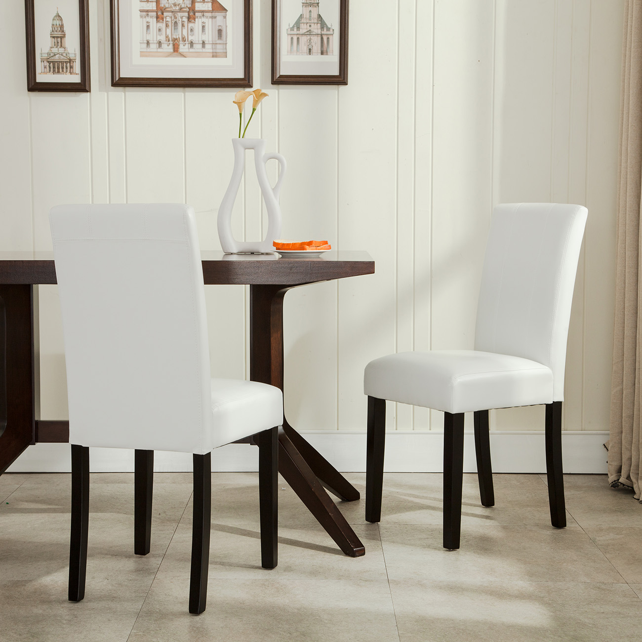 Contemporary Dining Room Chairs: Elegant Modern Parsons Chair Leather Dining Living Room