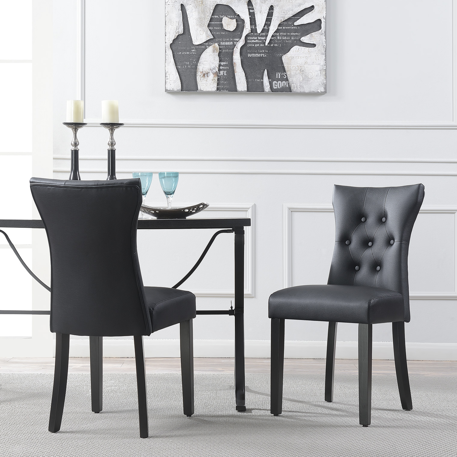 Set Of (2) Modern Dining Chair Faux Leather Nailhead