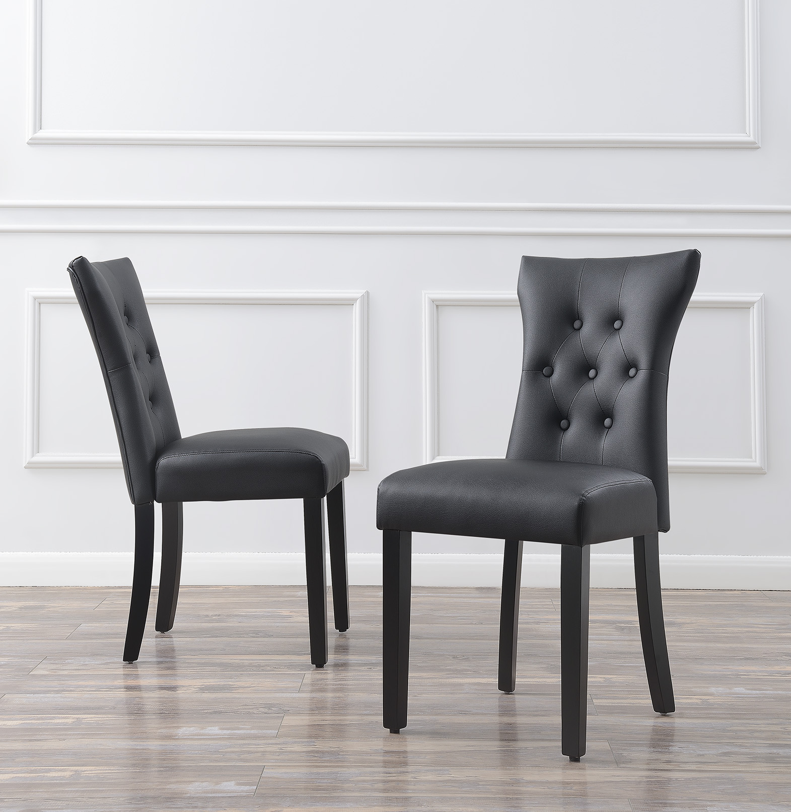 Leather Dining Set: Set Of (2) Modern Dining Chair Faux Leather Nailhead