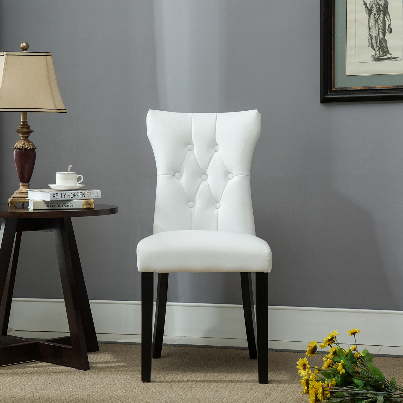 Set of (2) Modern Dining Chair Faux Leather Nailhead ...