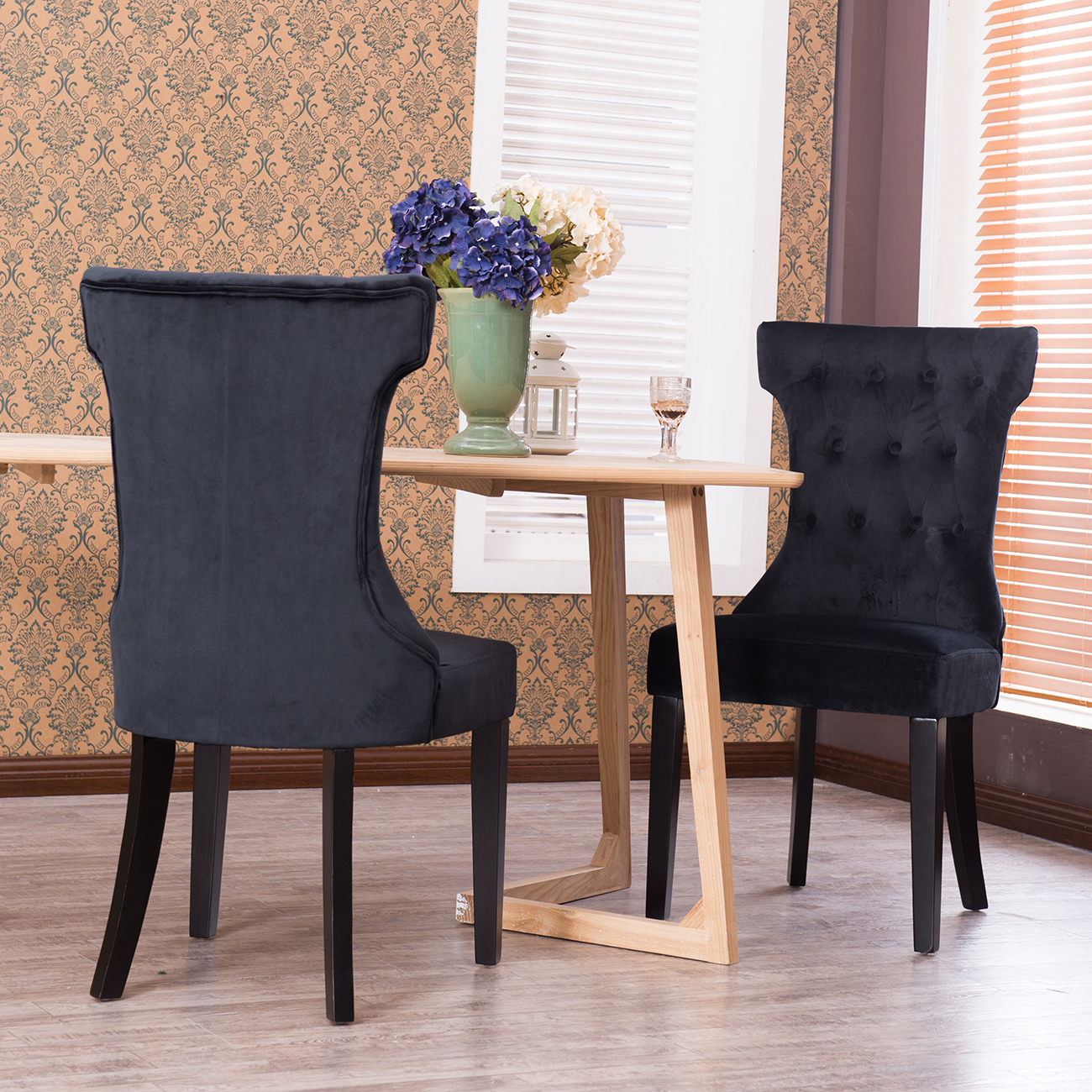 Black fabric dining chairs - Set Of 2 Dining Chair Tufted Fabric Button Elegant Modern Armless Chairs Black