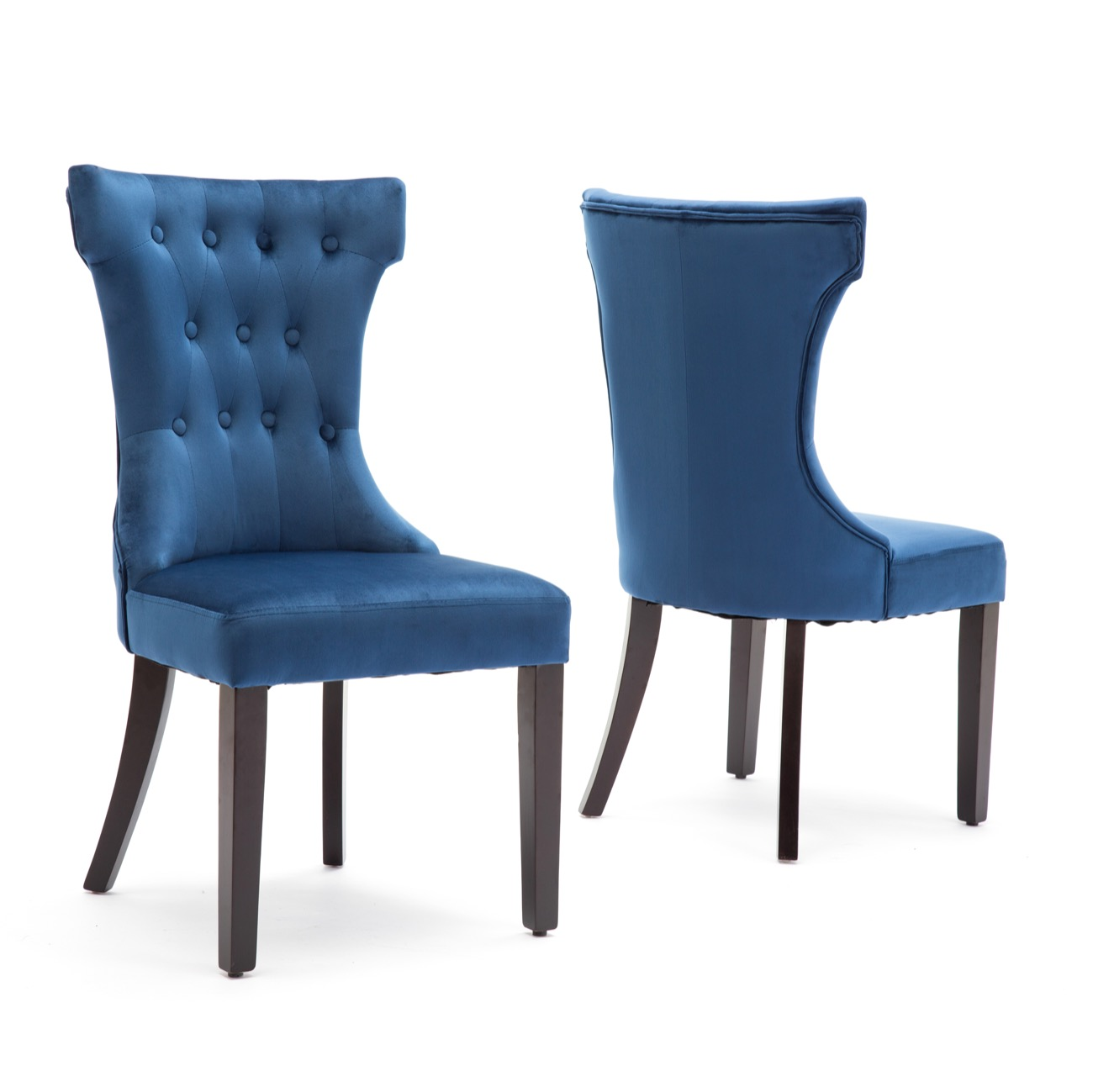 Retro Modern Dining Chair Blue Fabric: Set Of 2 Elegant Tufted Design Fabric Upholstered Modern