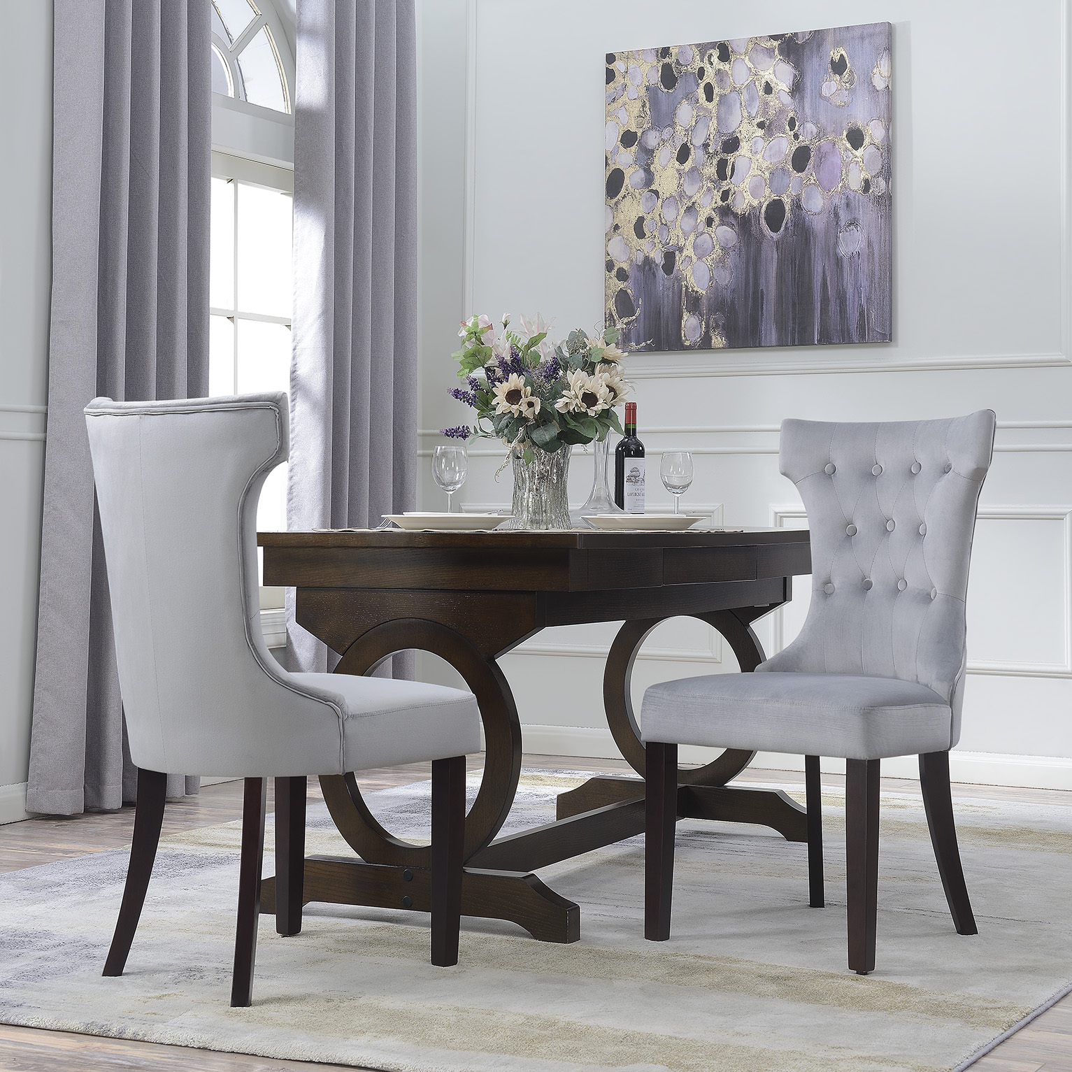 Grey Dining Room Chairs: Set Of 2 Elegant Tufted Fabric Armless Side Chairs Modern