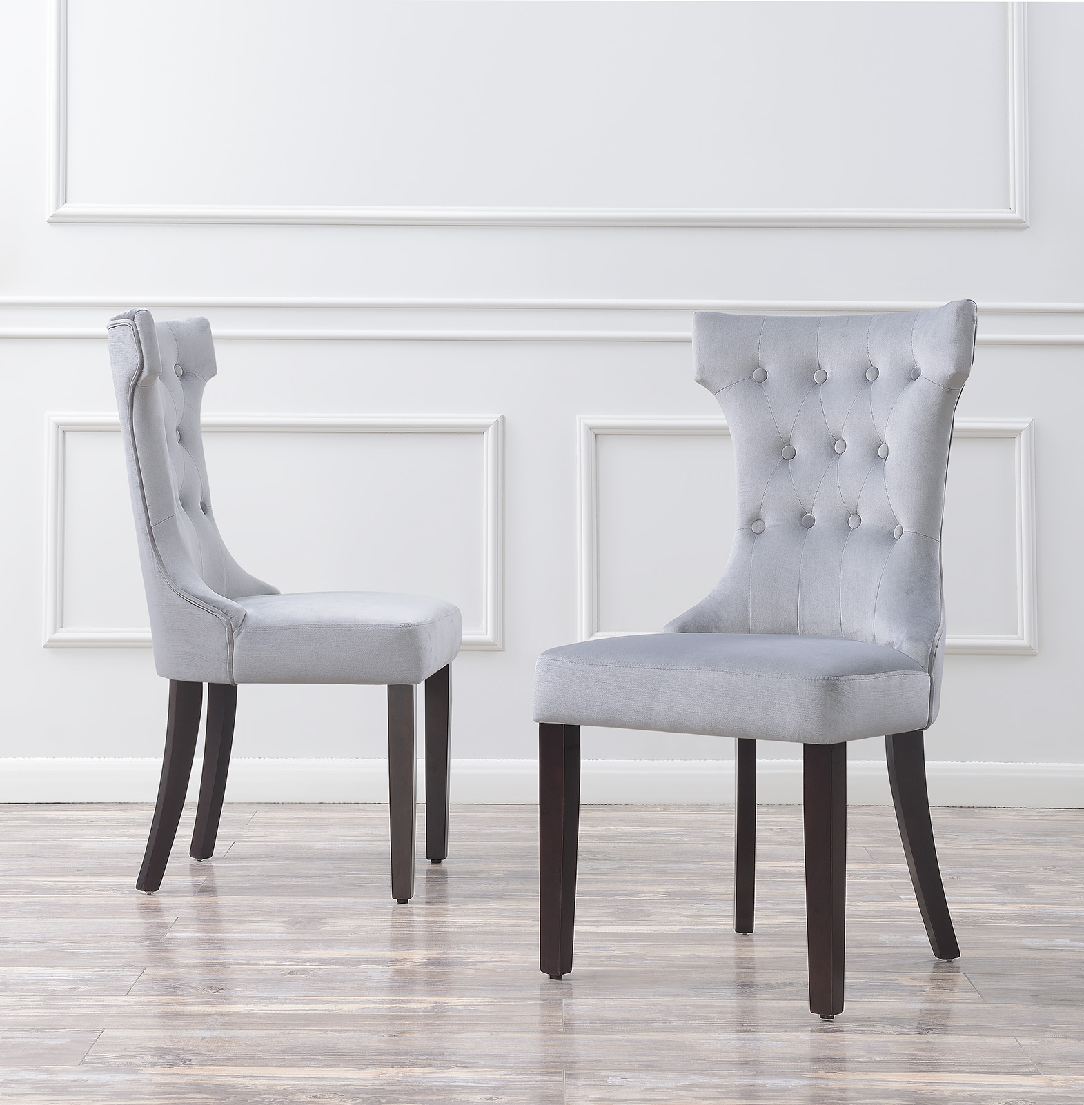 Attrayant Set Of 2 Elegant Tufted Fabric Armless Side