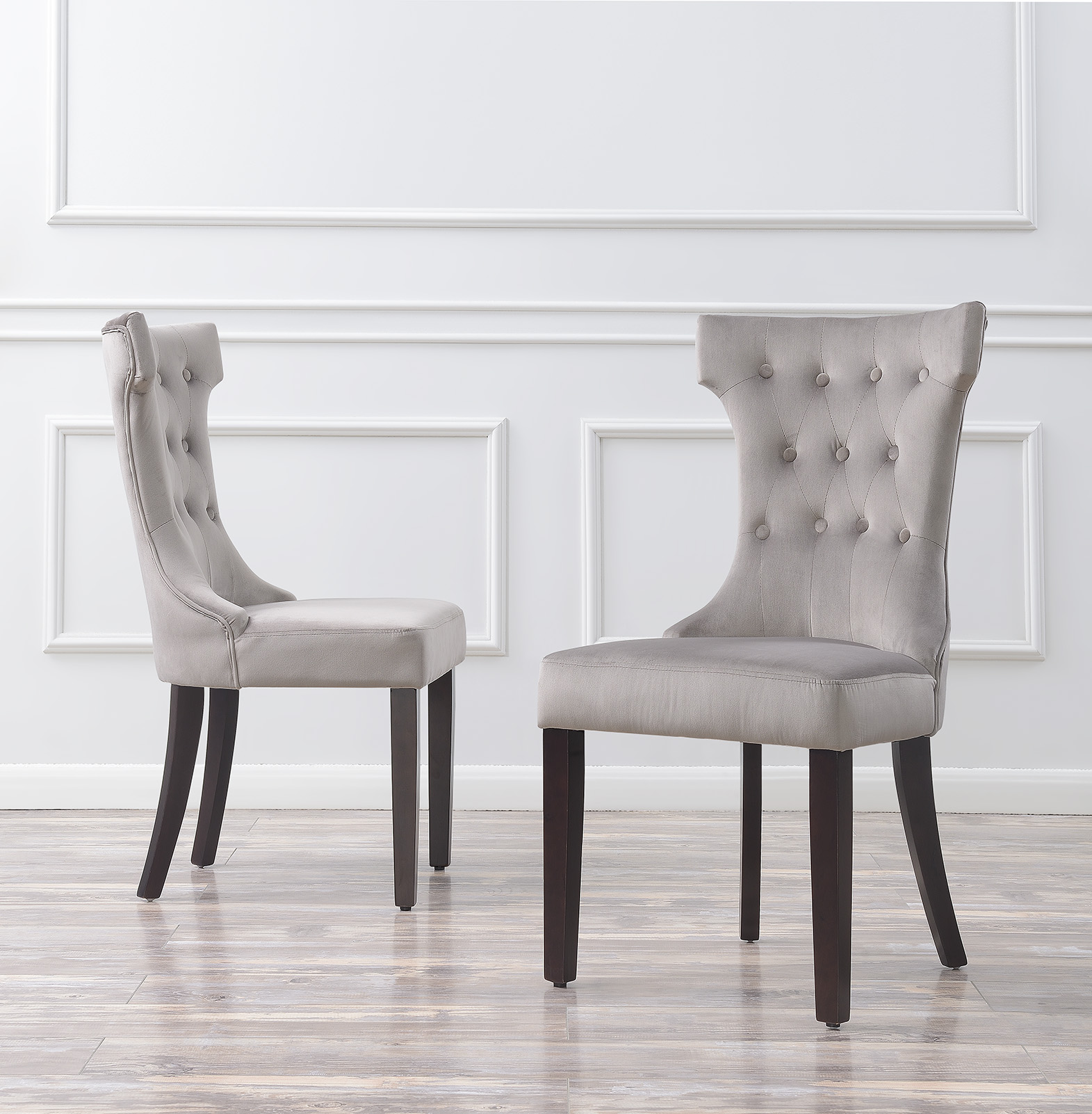 Set of 2 Elegant Tufted Fabric Armless Side Chairs Modern Black