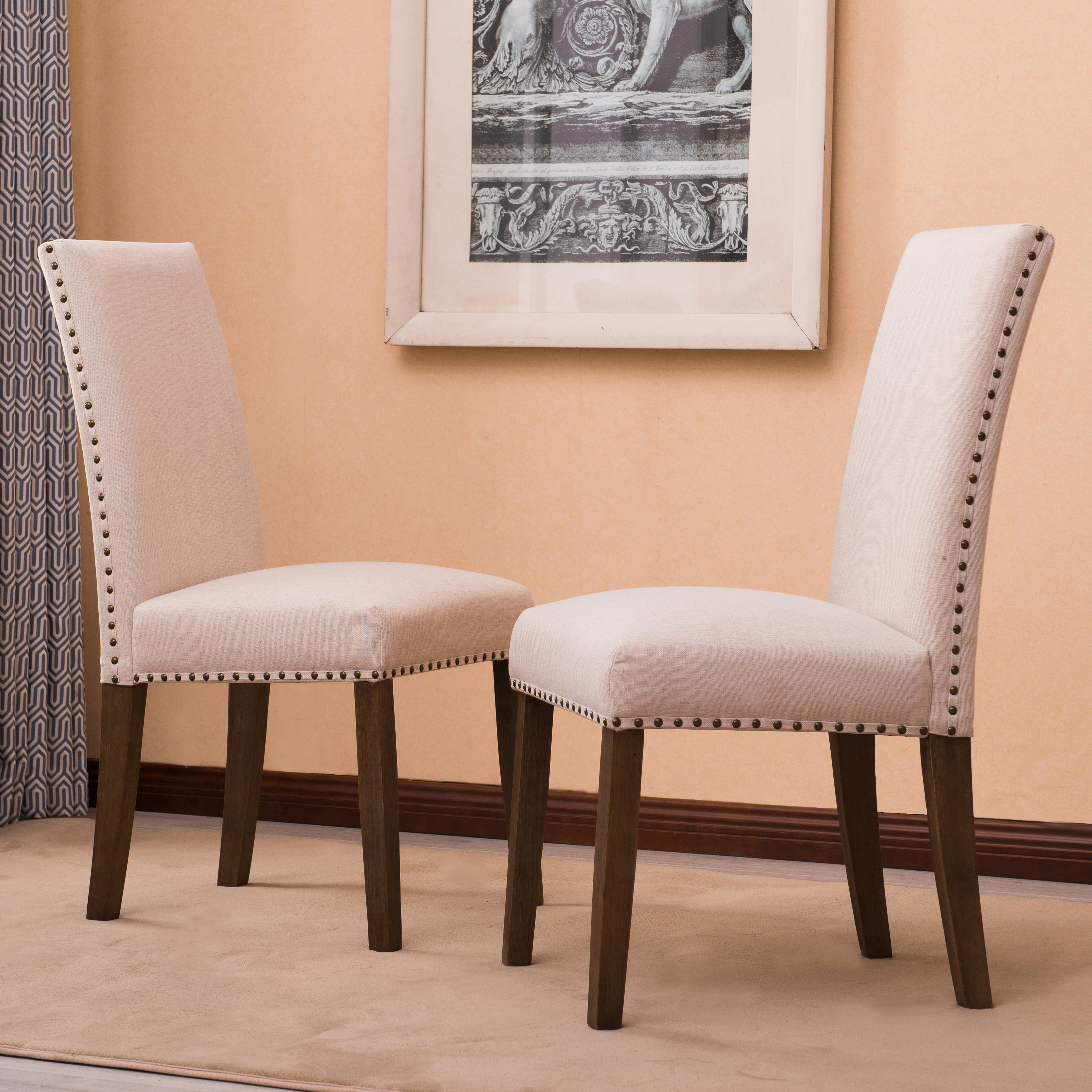 Details about Set of (2) Modern Contemporary Elegant Linen Parson Dining  Chairs (Gray / Beige)