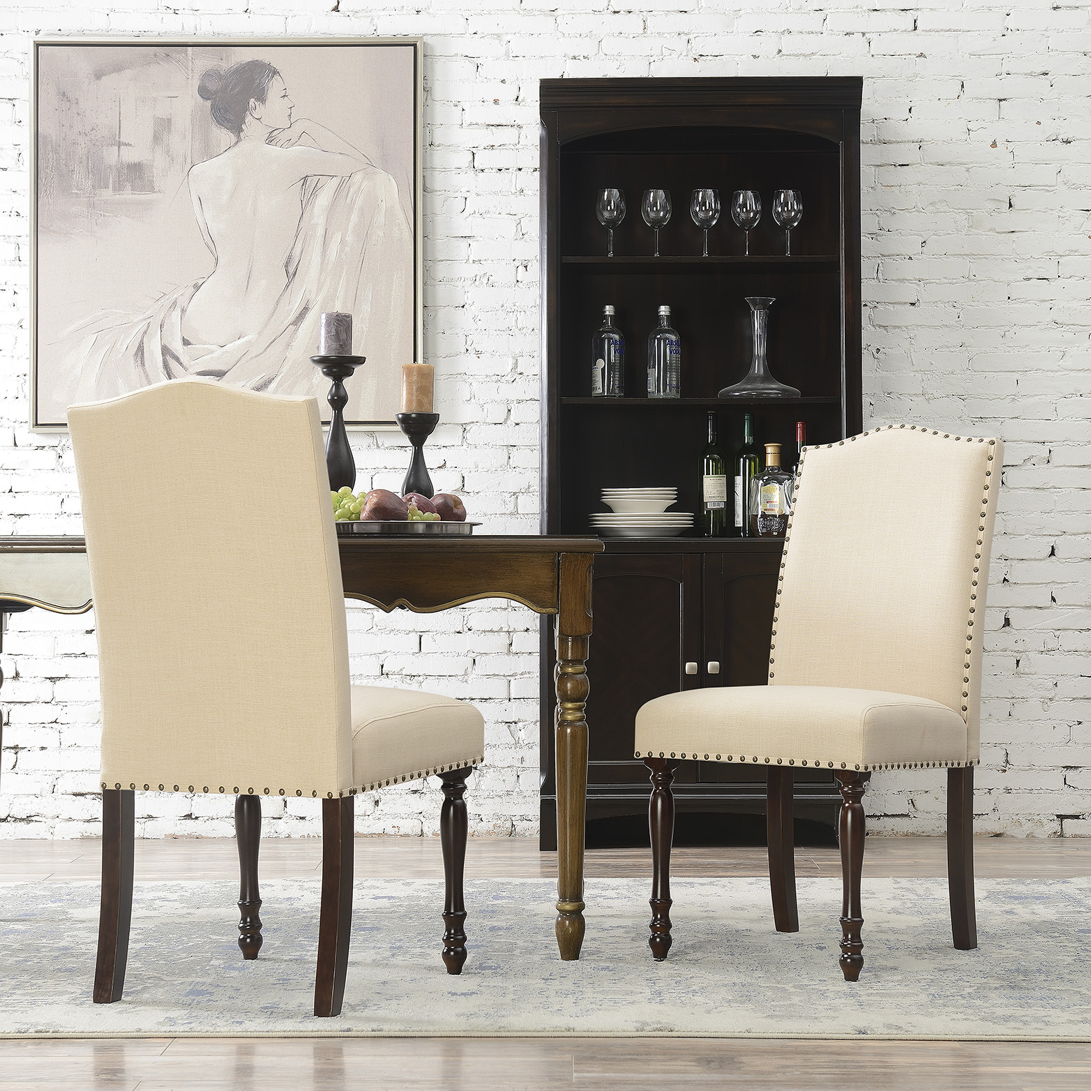 Elegant Set Of 2 Parson Chair Linen Seat
