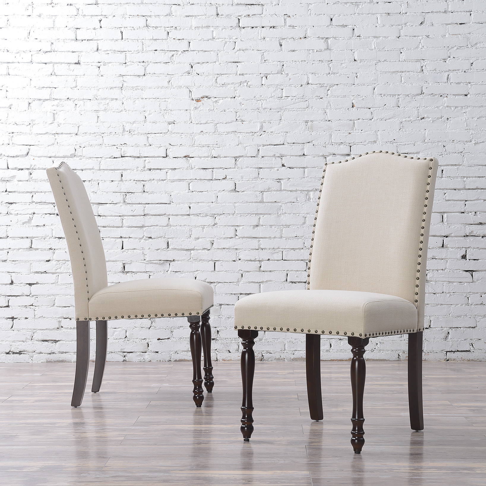 Elegant-Set-of-2-Parson-Chair-Linen-Seat-Cushion-Dining-Chairs-Beige-Gray thumbnail 3