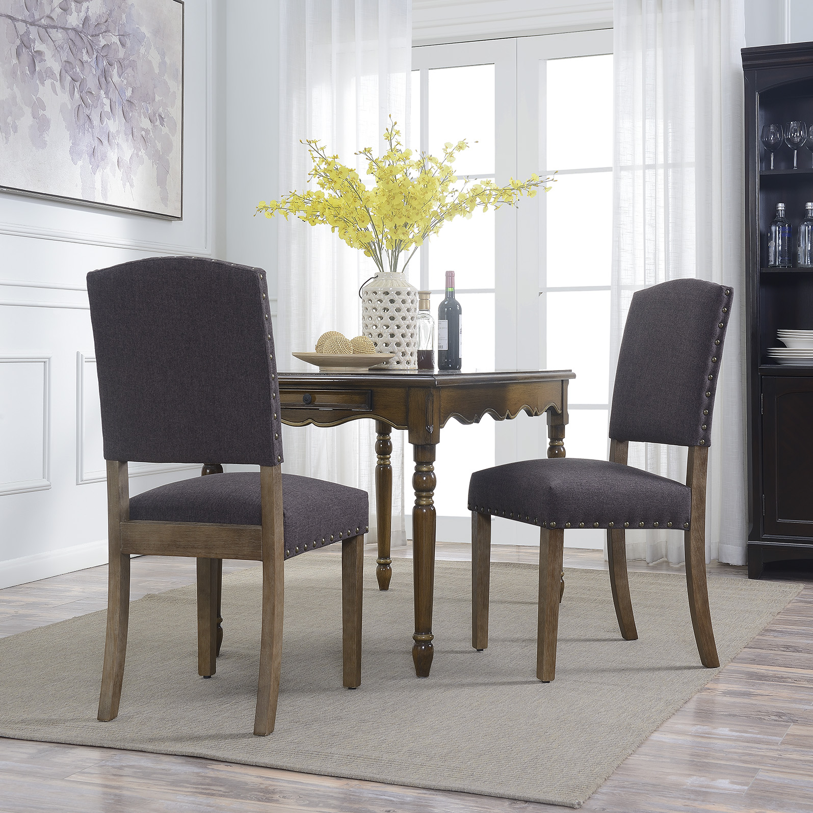 Dark grey modern upholstered dining chair parsons set of 2