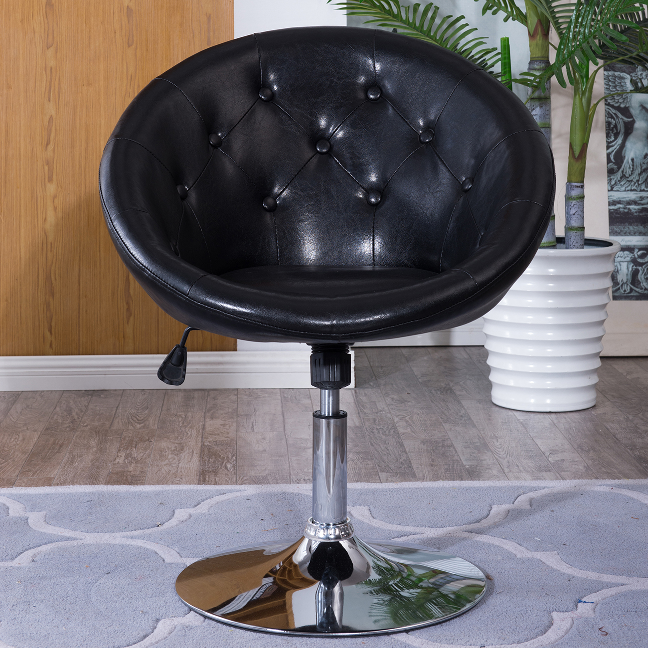 Round Back Swivel Black Chair Vanity Makeup Vinyl Stool