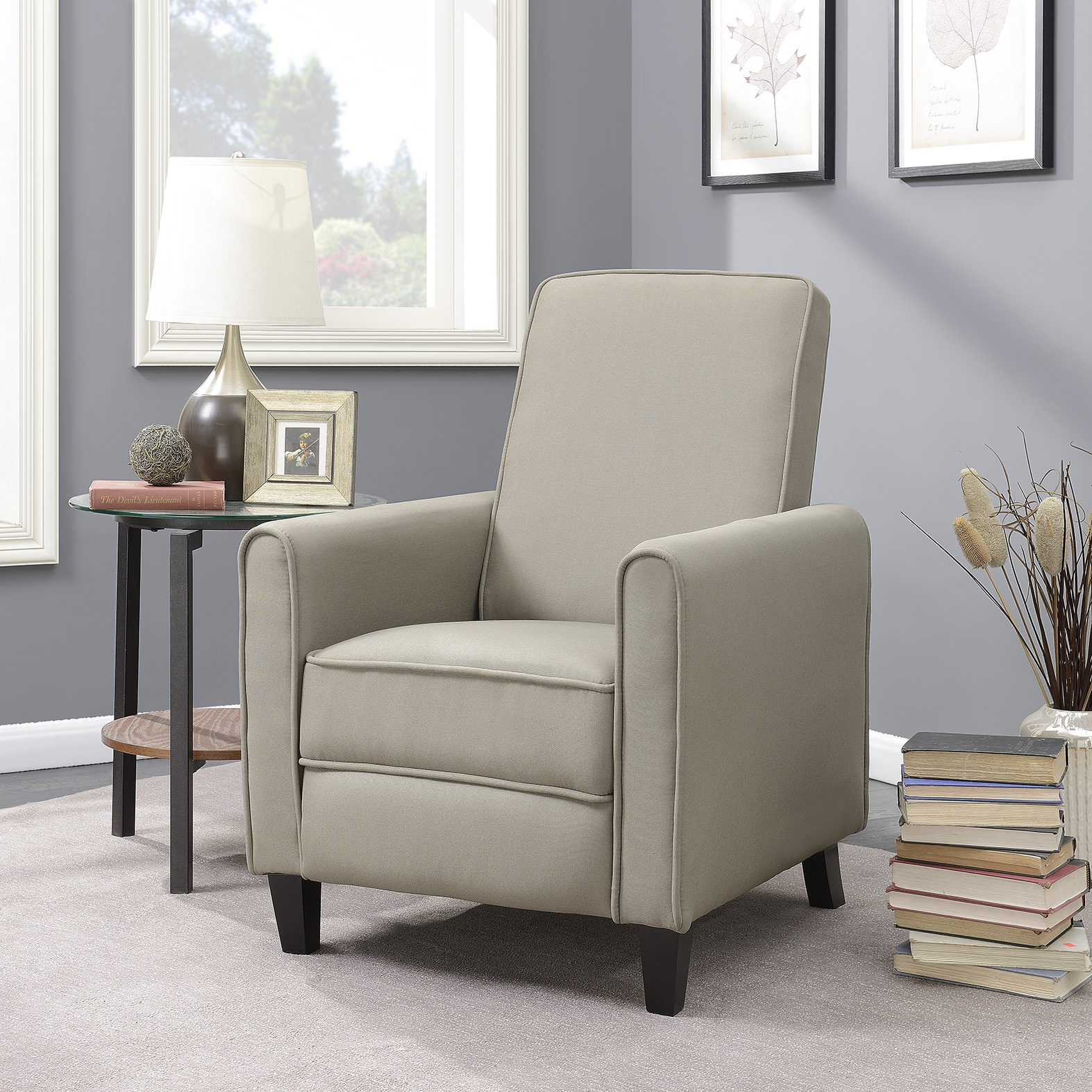 Details About Recliner Club Chair Living Room Home Modern Design Recline Fabric Gray Beige