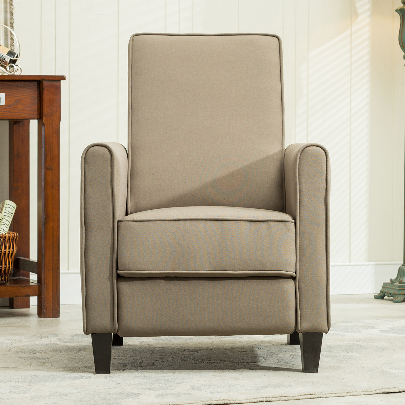 Recliner club chair living room home modern design recline fabric gray beige ebay - Wandspiegel groay modern ...