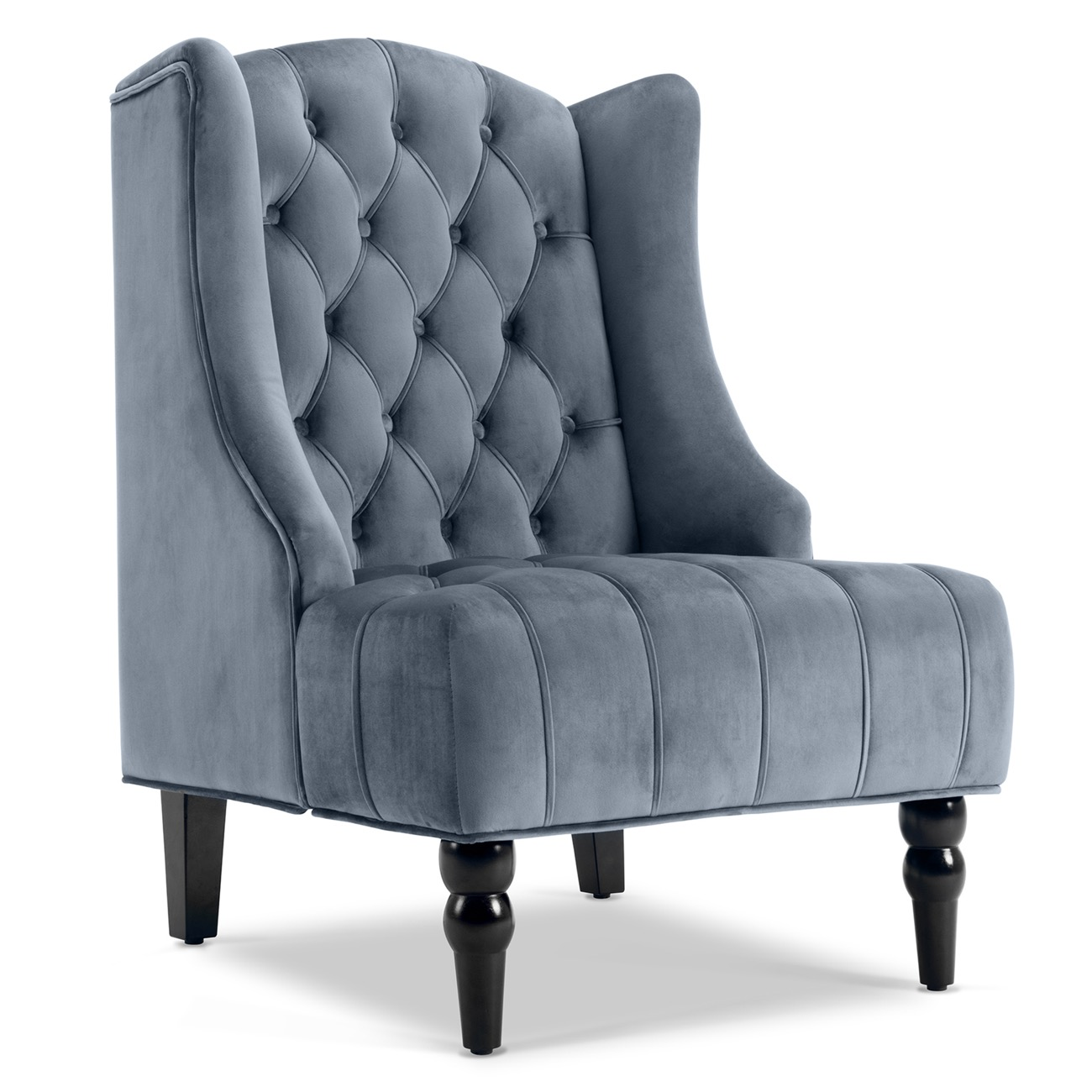 Details About Wingback Accent Chair Tall High Back Living Room Tufted  Nailhead   Gray / Beige