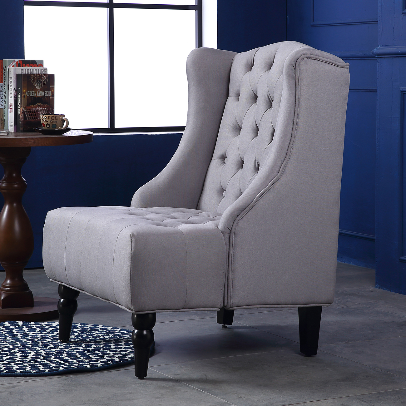 Wingback accent chair tall high back living room tufted for Sitting room chairs