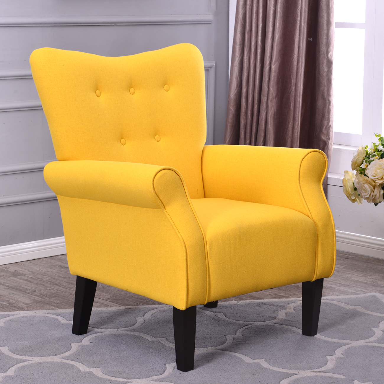 Arm Chair Accent Single Sofa Linen Fabric Upholstered Living Room Citrine Yellow Ebay